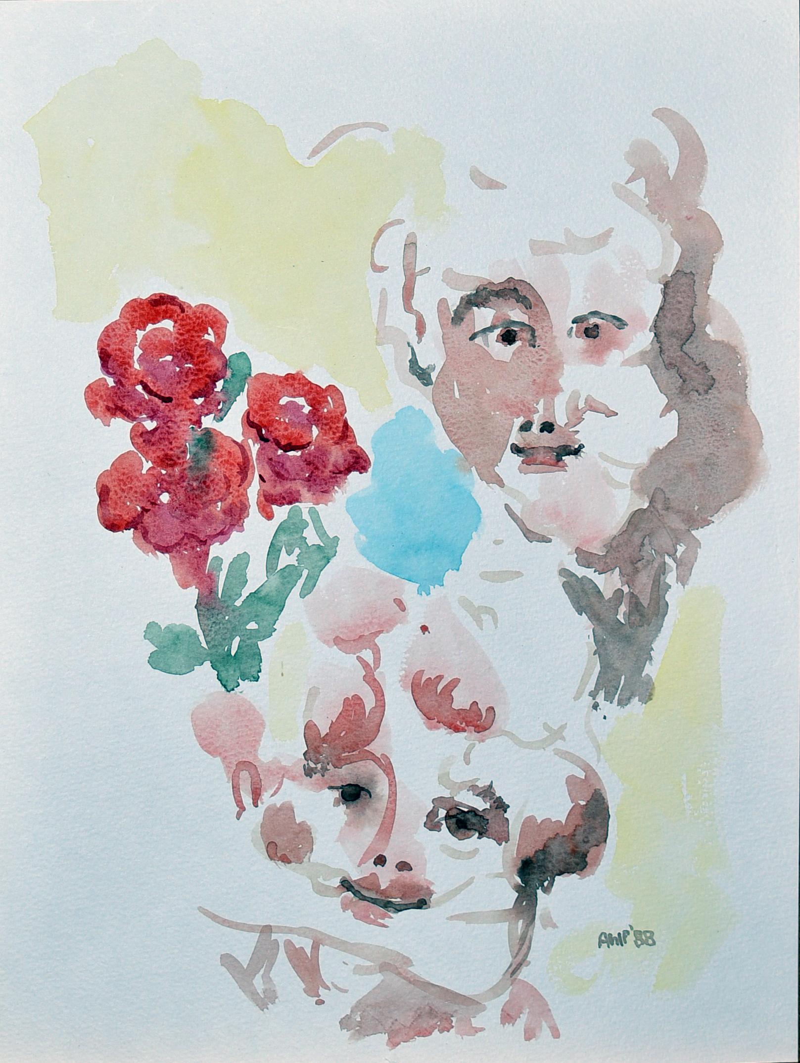 Abstrakt gezeichnet Personen und Rosen, die Frau bekommt von dem Mann Rosen geschenkt
