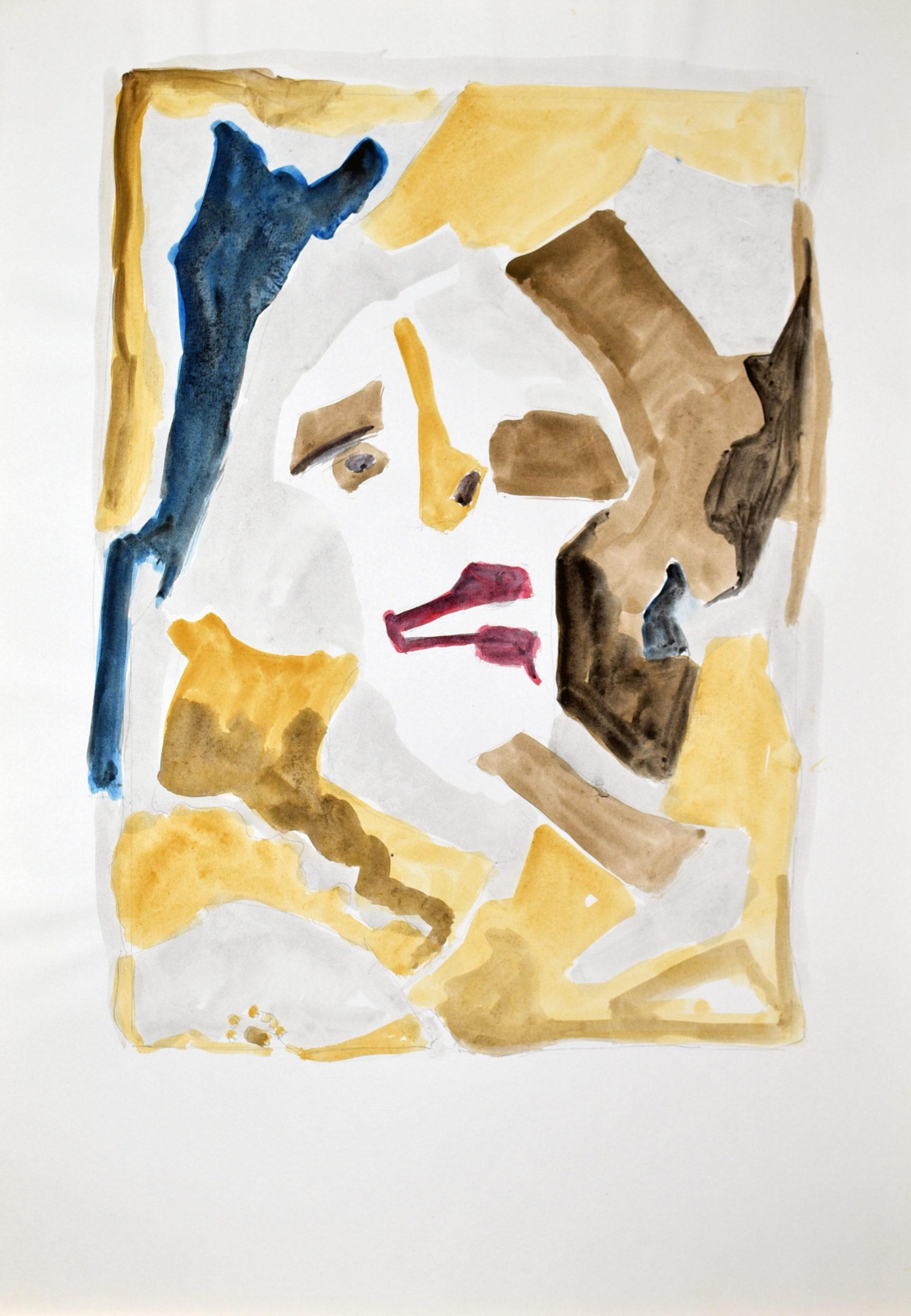Abstrakt gemaltes Gesicht mit Erd- und Sandfarben
