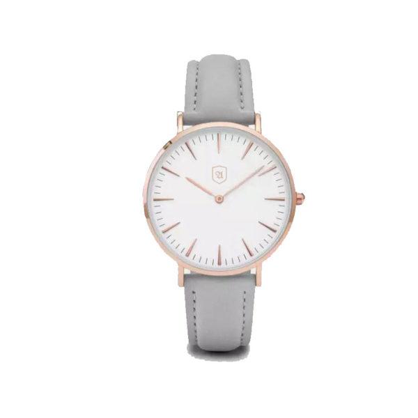 Produktbild Uhr Bright Side. Weißes Ziffernblatt, Rosé Gold, graues Lederarmband