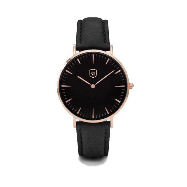 Produktbild Uhr Dark Mode. schwarzes Ziffernblatt, Rosé Gold, schwarzes Lederarmband
