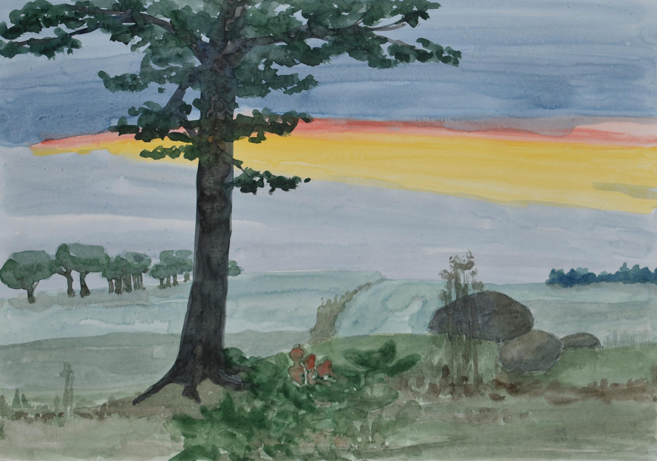 Landschaftsbild mit Sonnenuntergang