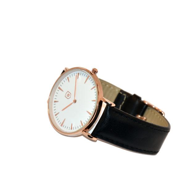 Produktbild Uhr Aren. Weißes Ziffernblatt, Rosé Gold, schwarzes Lederarmband